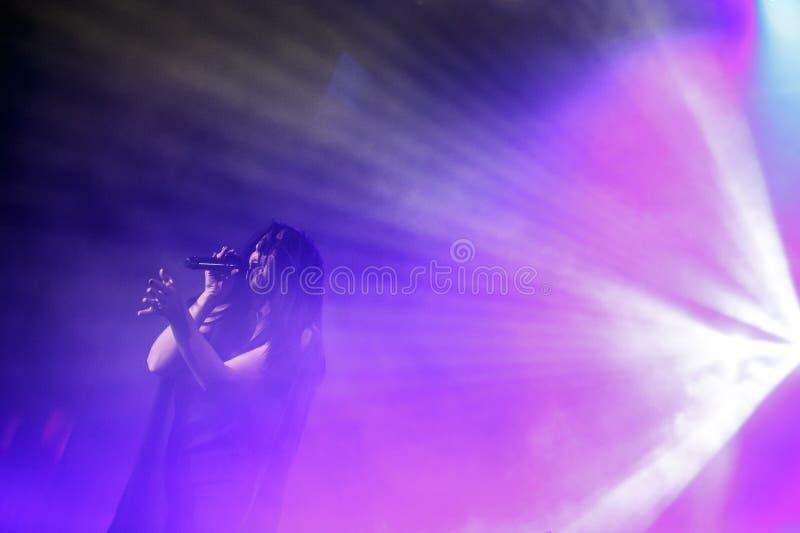 The famous Ukrainian singer Jamala gave a concert presenting her new album Podykh (Breath) royalty free stock photo