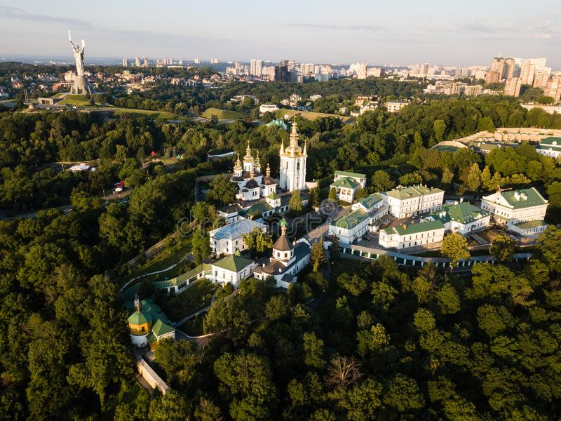 Aerial panoramic top view of Kiev Pechersk Lavra churches on hills from above, cityscape of Kyiv city. Famous ukranian landscape - aerial panoramic view of Kiev stock photos