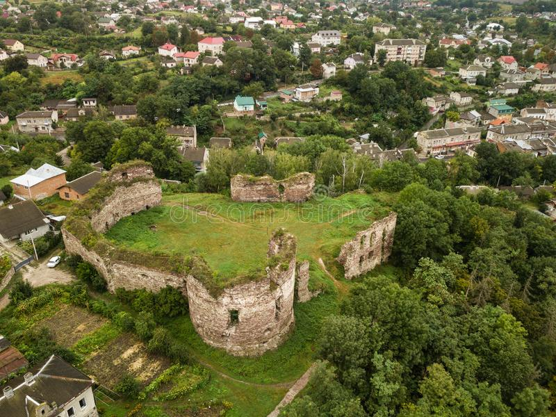 Aerial top view from drone to castle ruins in Buchach, Ternopil region, Ukraine. Famous ukranian sights - aerial top view from drone to castle ruins in Buchach stock photos