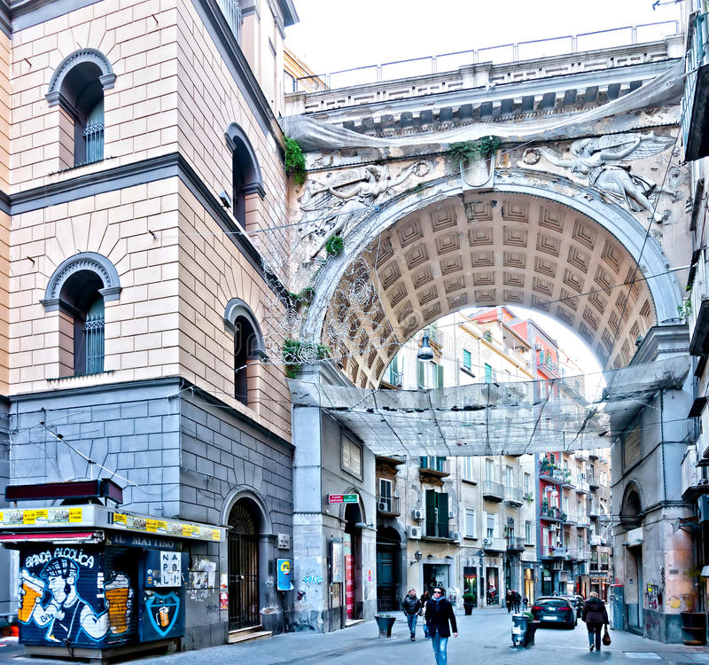Famous Via Chiaia street view in Naples, Italy. NAPLES, ITALY - JANUARY 1, 2014: Via Chiaia street view in Naples, Italy. The famous arch ponte di Chiaia was stock image