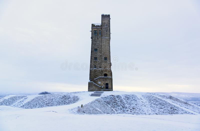 Victora Tower on Castle Hill in Huddersfield, West Yorkshire, England. The Famous Victoria Tower built to commemorate Queen Victoria on Castle Hill a once iron royalty free stock image