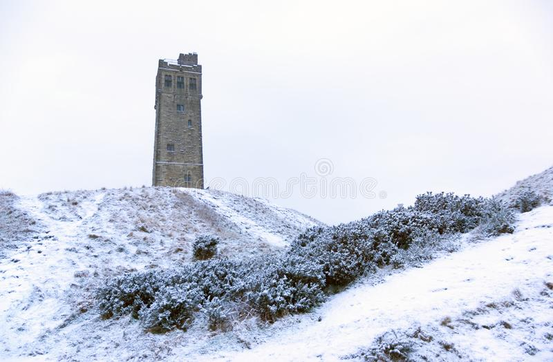 Victora Tower on Castle Hill in Huddersfield, West Yorkshire, England. The Famous Victoria Tower built to commemorate Queen Victoria on Castle Hill a once iron stock image