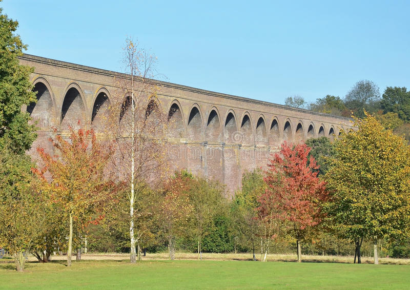 Chappel Viaduct. Famous Victorian brick built railway viaduct in the Colne Valley, Chappel Essex stock image