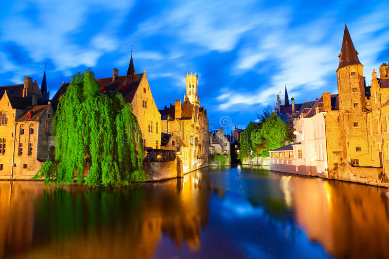 Famous View Of Bruges At Night Royalty Free Stock Photo