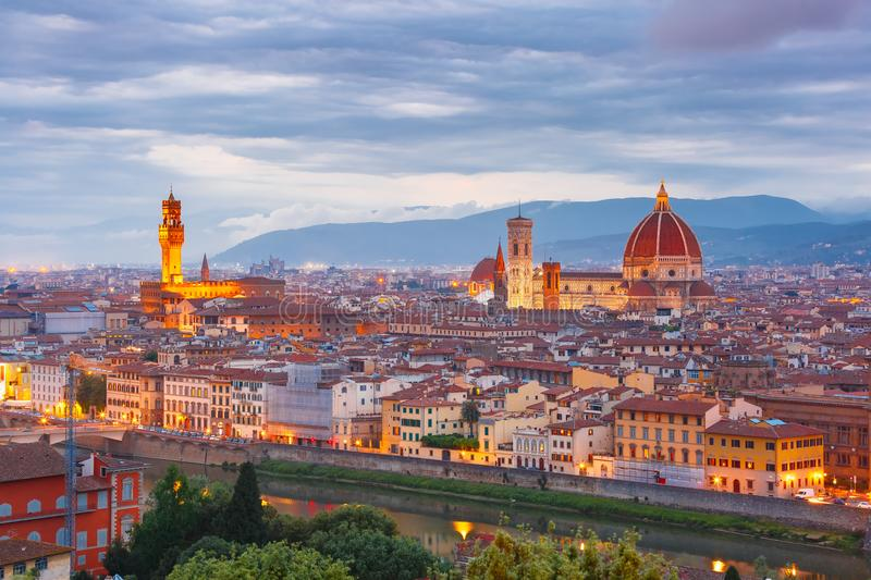 Famous view of Florence at sunset, Italy. Famous view of Florence at sunset from Piazzale Michelangelo in Florence, Tuscany, Italy stock image