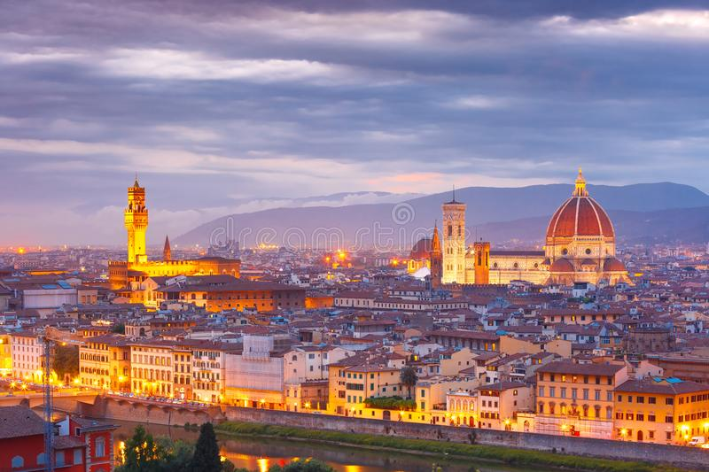 Famous view of Florence at sunset, Italy. Famous view of Florence at sunset from Piazzale Michelangelo in Florence, Tuscany, Italy royalty free stock image