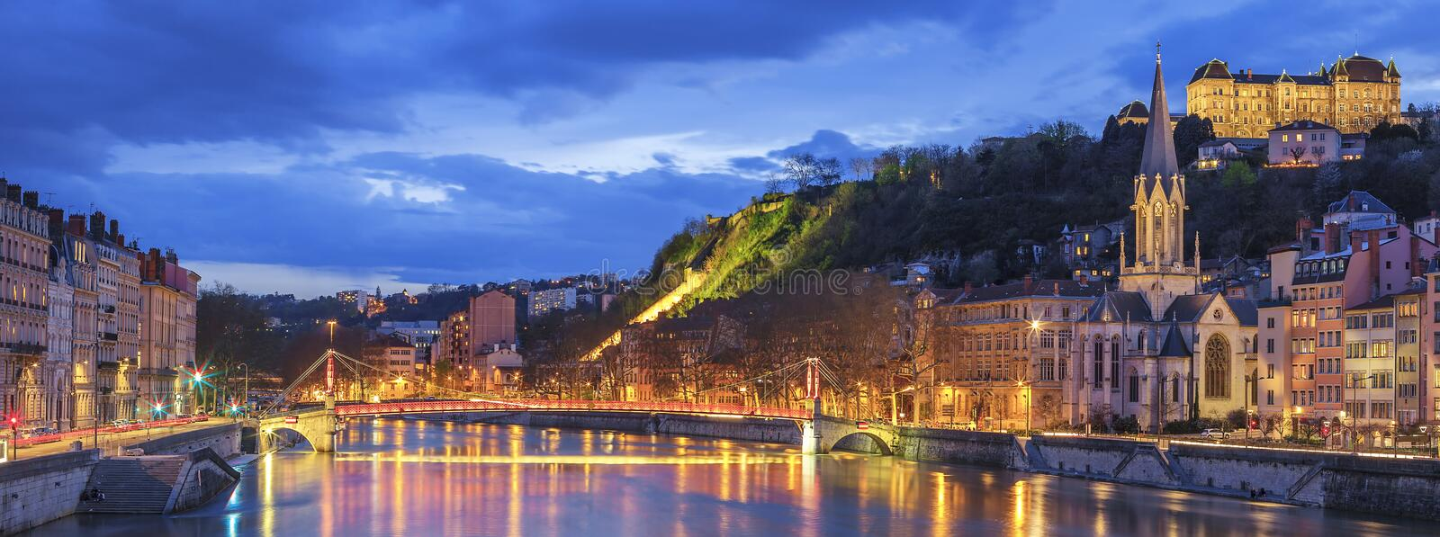 Famous view of Lyon with Saone river. At night stock photos