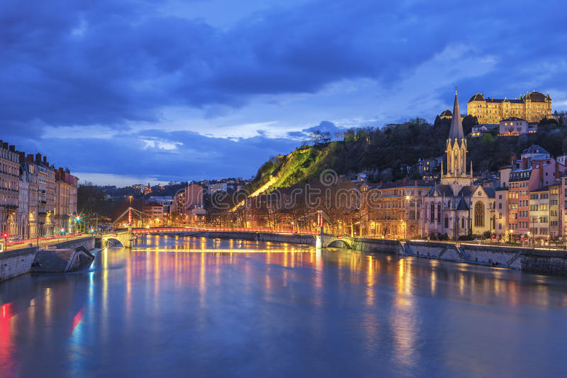 Famous view of Lyon with Saone river. At night stock photo