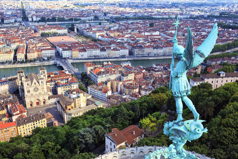 Famous view of Lyon. From the top of Notre Dame de Fourviere royalty free stock photos