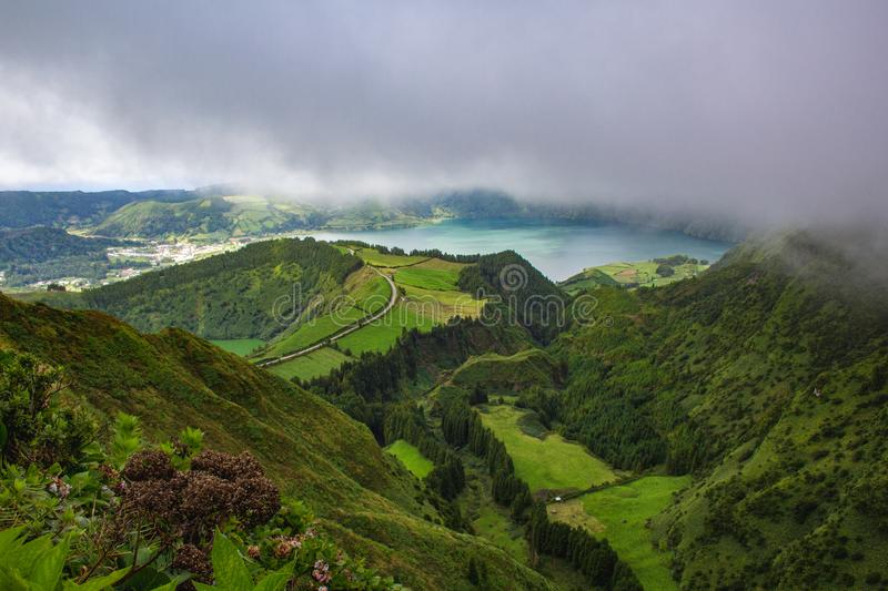 Famous view of picturesque Sete Cidadas on a cloudy day, Sao Miguel Island, Azores, Portugal.  royalty free stock image