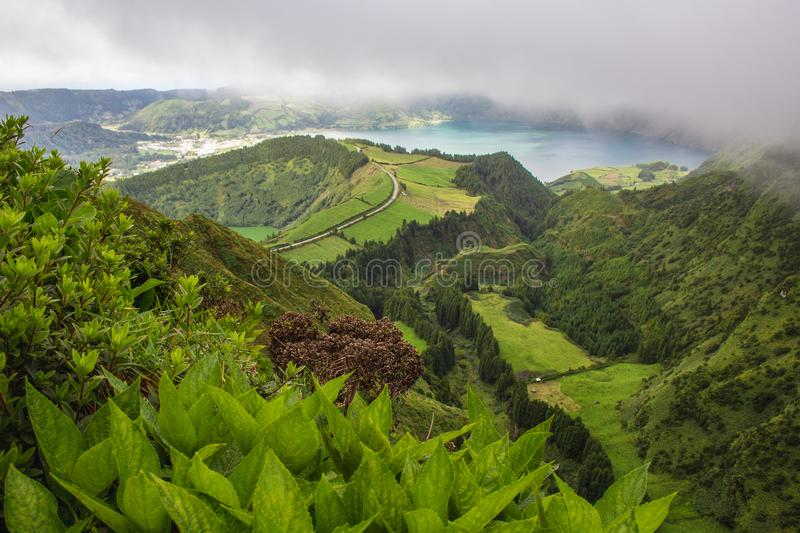 Famous view of picturesque Sete Cidadas on a cloudy day, Sao Miguel Island, Azores, Portugal.  stock images