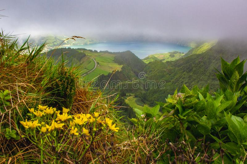 Famous view of picturesque Sete Cidadas on a cloudy day, Sao Miguel Island, Azores, Portugal.  stock photography