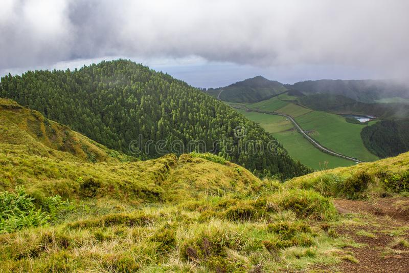 Famous view of picturesque Sete Cidadas on a cloudy day, Sao Miguel Island, Azores, Portugal.  stock photo