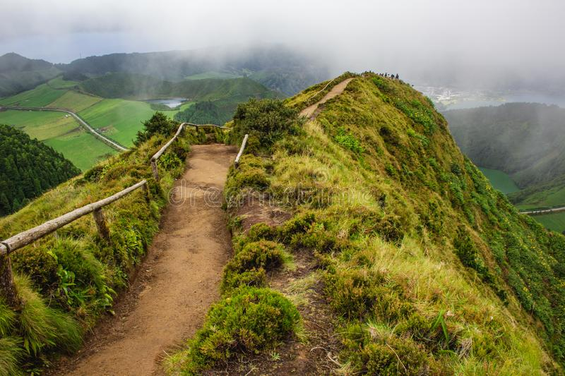 Famous view of picturesque Sete Cidadas on a cloudy day, Sao Miguel Island, Azores, Portugal.  royalty free stock photos