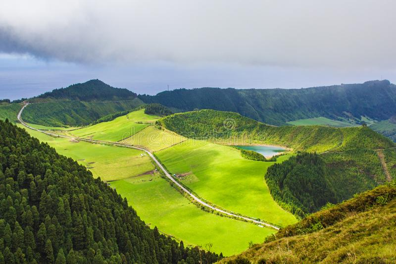 Famous view of picturesque Sete Cidadas on a cloudy day, Sao Miguel Island, Azores, Portugal.  royalty free stock images
