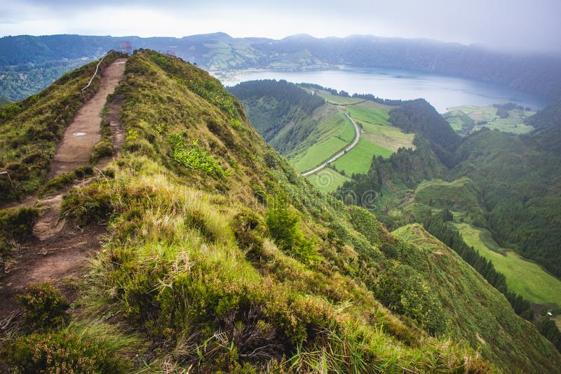 Famous view of picturesque Sete Cidadas on a cloudy day, Sao Miguel Island, Azores, Portugal.  stock image