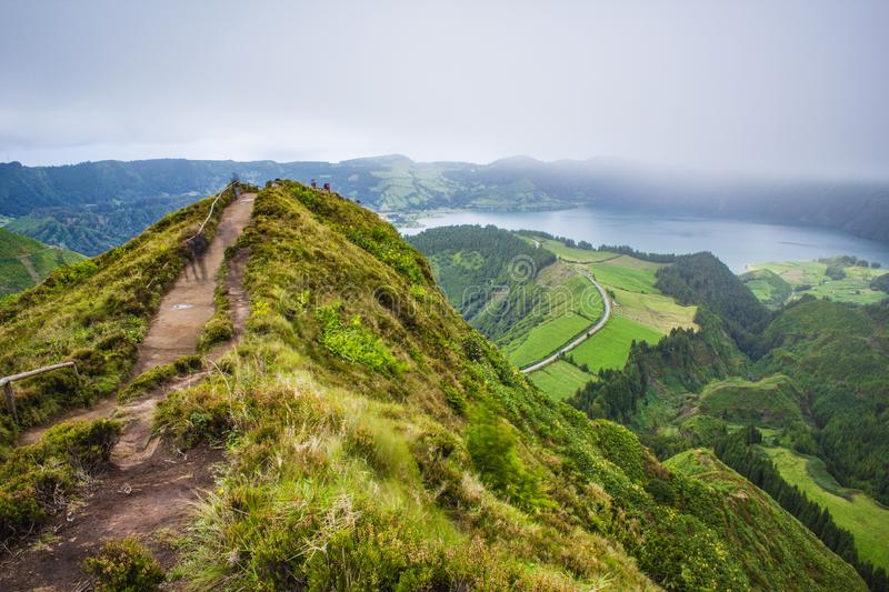 Famous view of picturesque Sete Cidadas on a cloudy day, Sao Miguel Island, Azores, Portugal.  stock photos