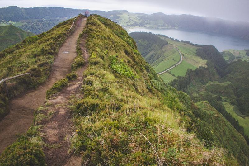 Famous view of picturesque Sete Cidadas on a cloudy day, Sao Miguel Island, Azores, Portugal.  royalty free stock photo