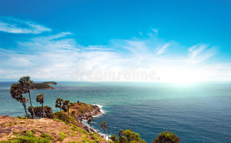 Famous view point and landmark in Phuket island Thailand. Panoramic sea scape stock images