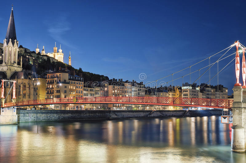 Famous view of river saone. At night, Lyon, France stock images