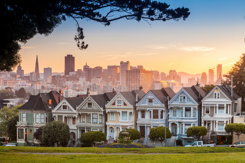 Famous view of San Francisco at Alamo Square. CA, USA stock photography