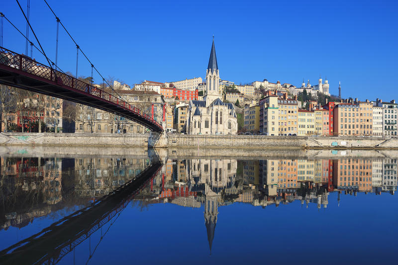 Famous view of Saone river and footbridge in Lyon city. France stock photo