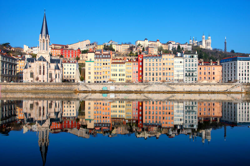 Famous view of Saone river in Lyon city. France stock images