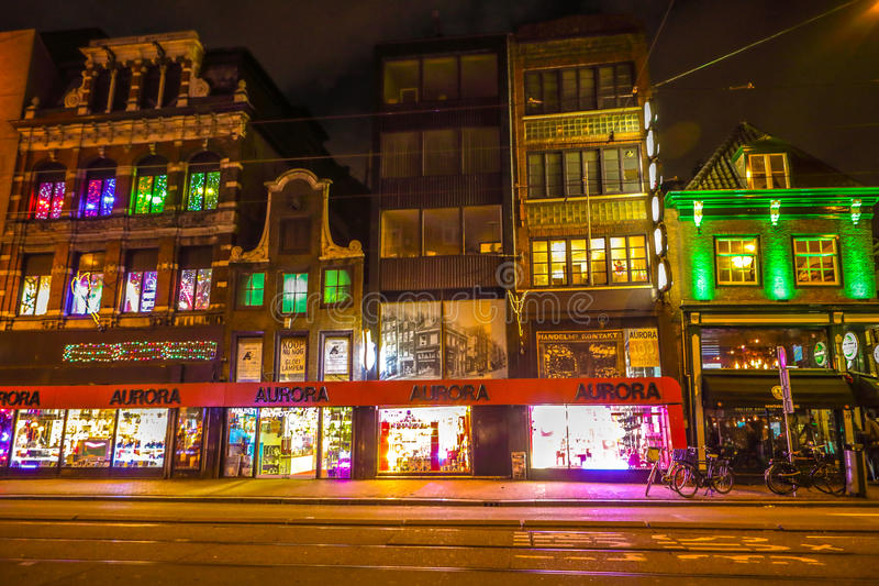 Famous vintage buildings of amsterdam city at night time general