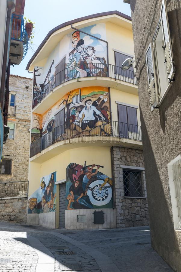 Famous wall paintings in Orgosolo on Sardinia royalty free stock image