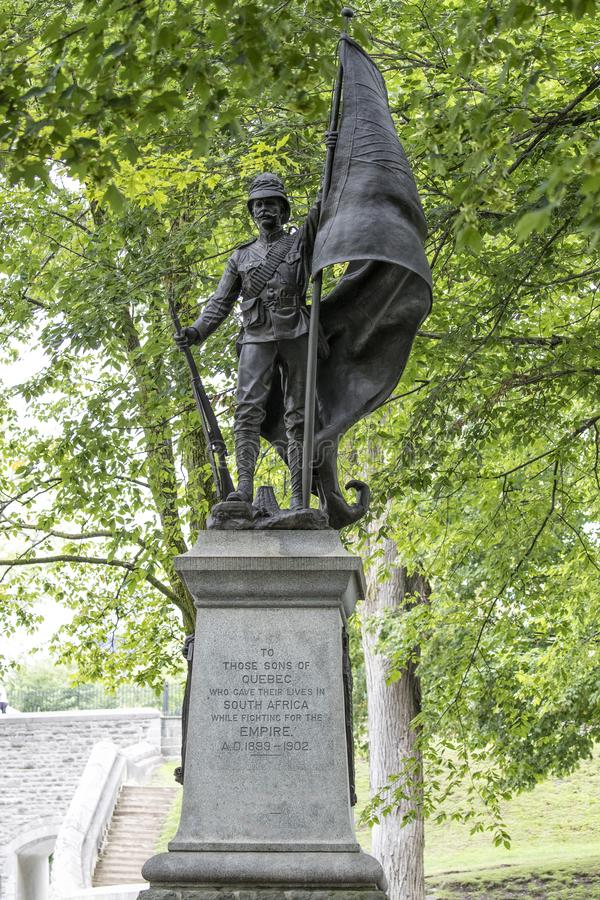 Famous war statue in Quebec City, Canada in entirety. Famous war statue in Quebec City, Canada of sons lost fighting in the African war on sunny day stock image