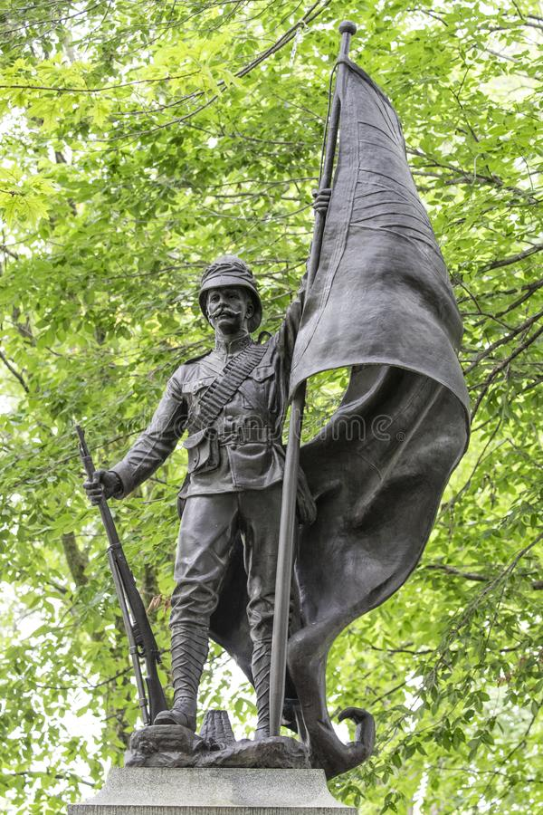 Famous war statue in Quebec City, Canada. Of sons lost fighting in the African war stock photo