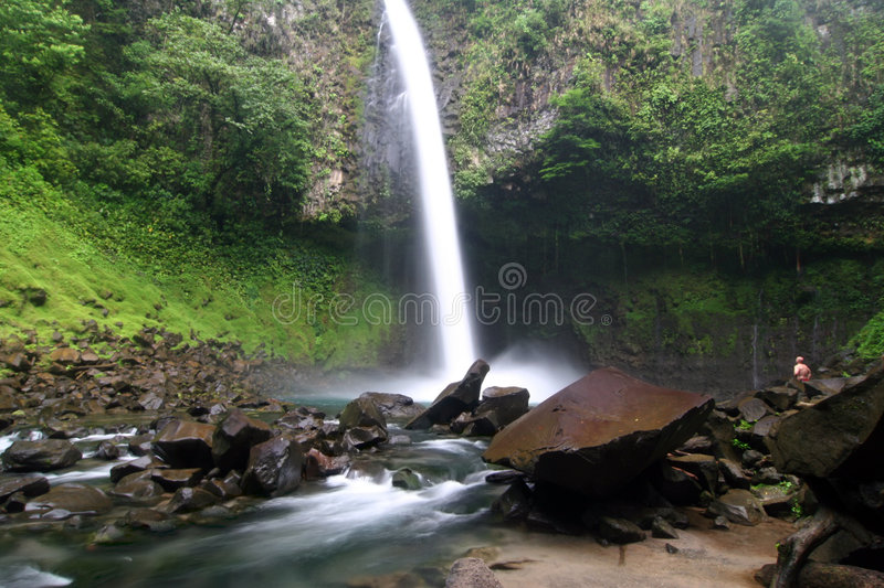 Famous waterfall La Fortuna royalty free stock photos