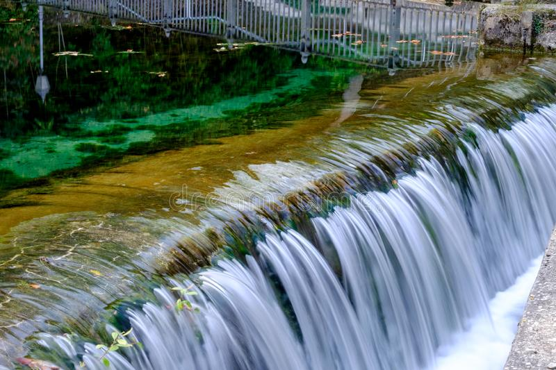 Famous waterfall om town Koenigsbronn. Famous waterfall with clear water in town Koenigsbronn in Germany, Europe royalty free stock photo