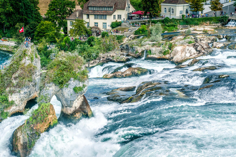 Famous Waterfall In Swiss Stock Photography