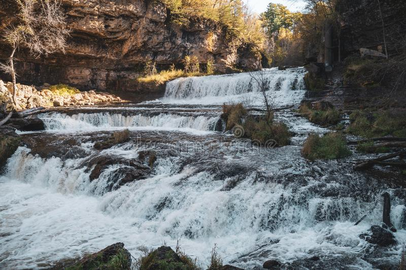 Famous waterfall in Willow River State Park in Hudson Wisconsin.  stock photography