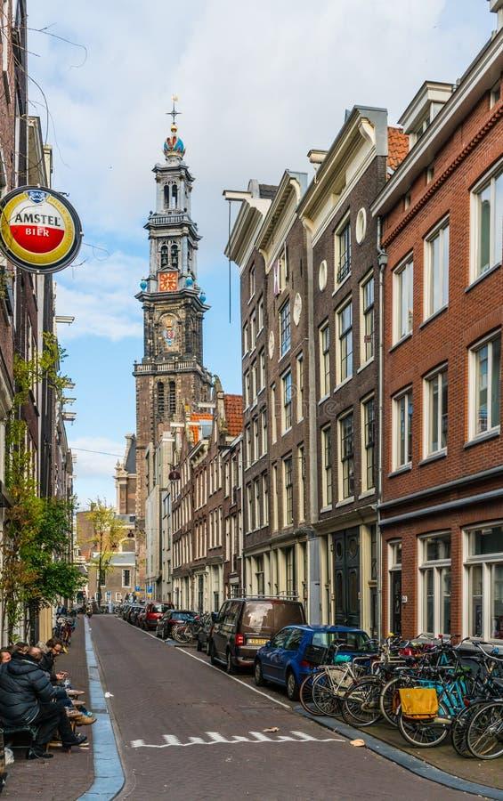 The Famous Westertoren seen from the Raamstraat in The Jordaan in Amsterdam stock image