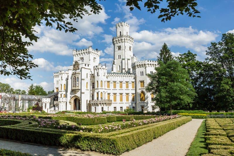 Famous white castle Hluboka nad Vltavou. Czech Republic stock images