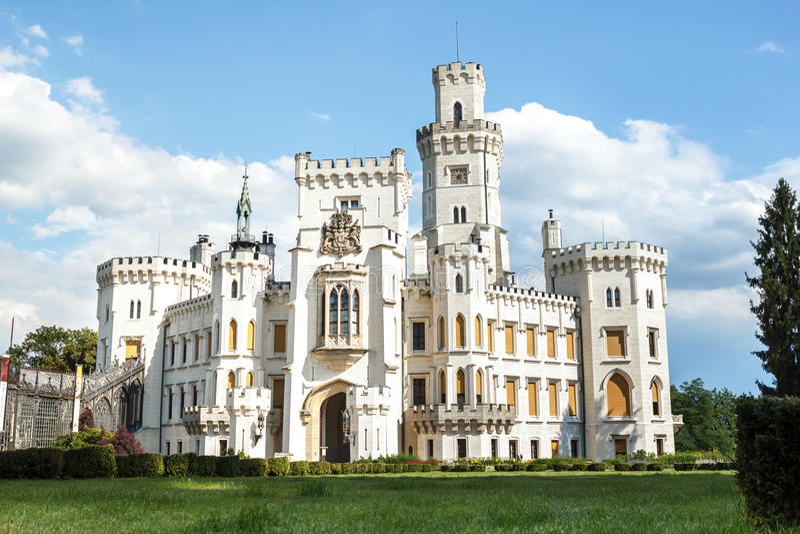 Famous white castle Hluboka nad Vltavou. Czech Republic stock photo