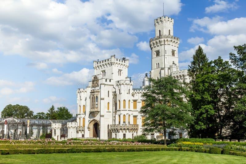 Famous white castle Hluboka nad Vltavou. Czech Republic stock photos