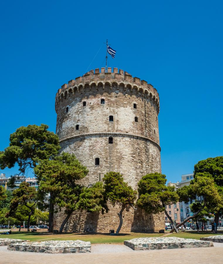 The famous White Tower which houses the city museum on the waterfront of Thessaloniki, Greece royalty free stock photo