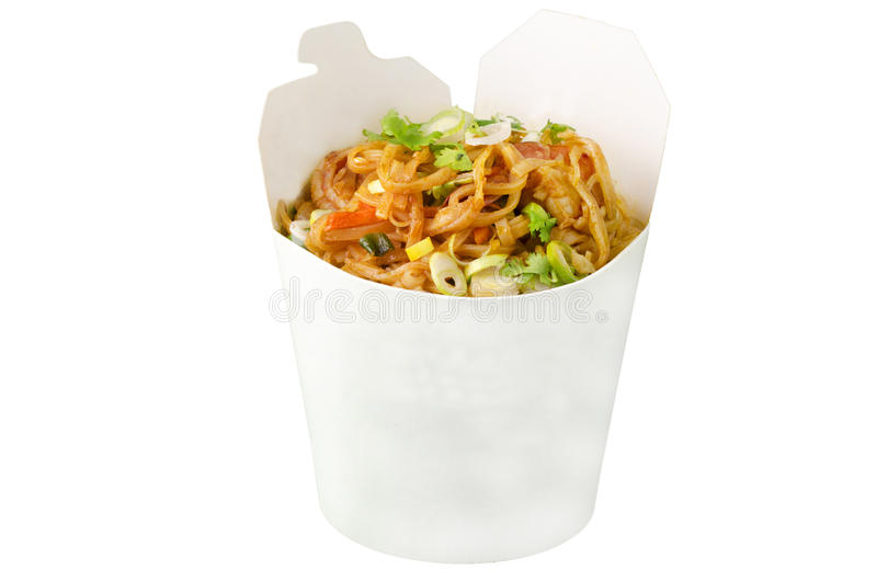 Famous wok meal pad thai. Pad thai in take-out package royalty free stock photo