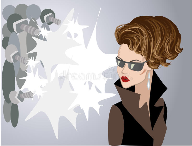 Famous woman posing to photographers vector illustration