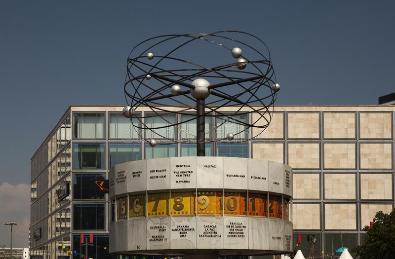 Famous World Clock located in Alexanderplatz in Berlin royalty free stock image