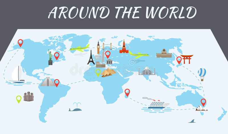 Famous world landmarks icons on the map stock vector illustration download famous world landmarks icons on the map stock vector illustration of abstract illustration gumiabroncs Image collections