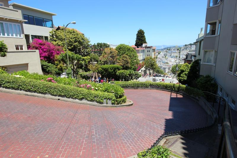 Lombard Street in San Francisco. The famous zigzag road of Lombard Street in San Francisco, California royalty free stock photos