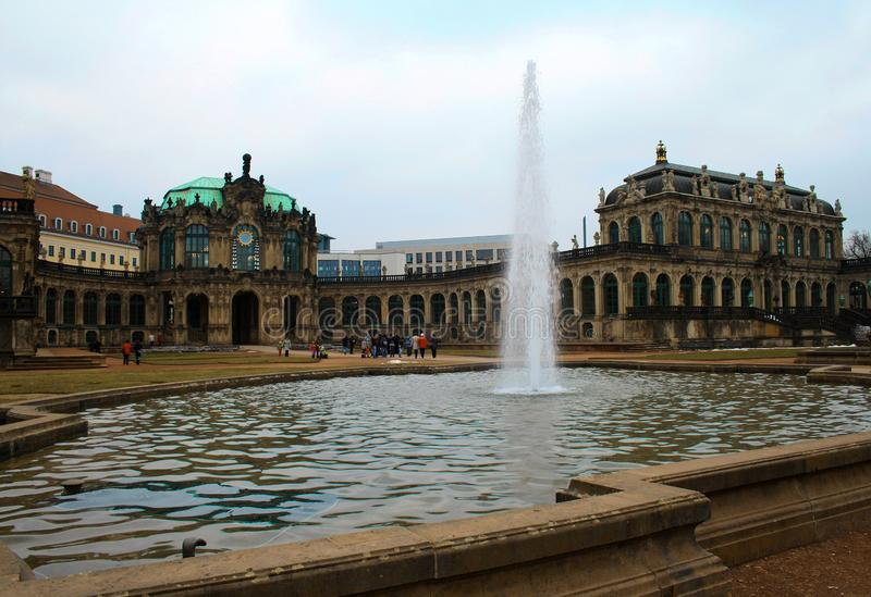 The famous Zwinger Palace with fountain in Dresden, Saxony, Germ royalty free stock images