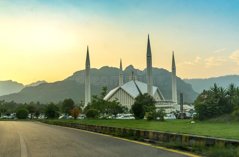 Famouse Faisal Mosque stock fotografie
