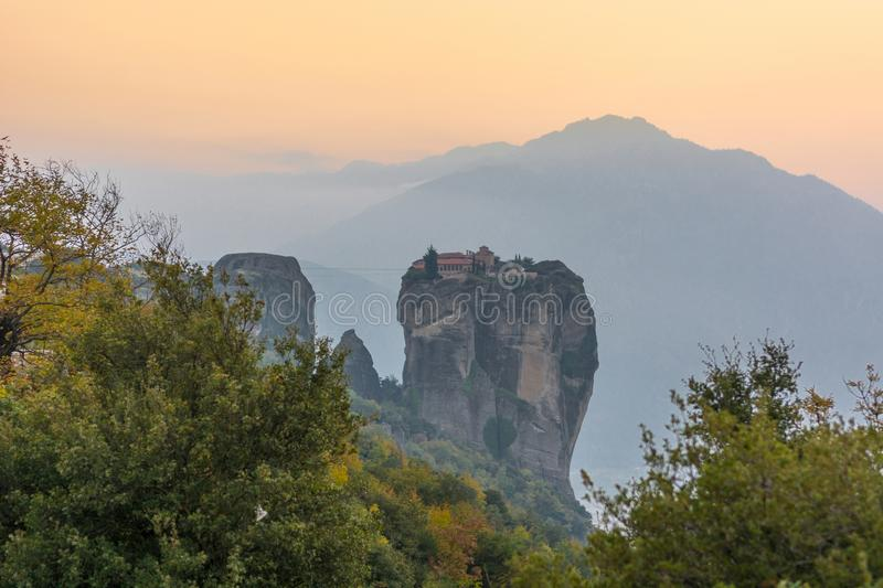 Famouse monastery of Meteora in sunset light. Famouse monastery of Meteora, Greece at sunset royalty free stock photography