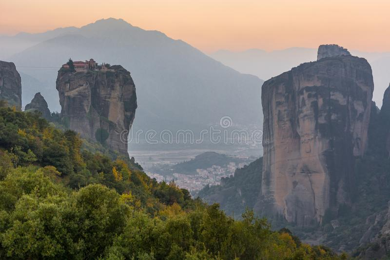 Famouse monastery of Meteora in sunset light. Famouse monastery of Meteora, Greece at sunset royalty free stock images