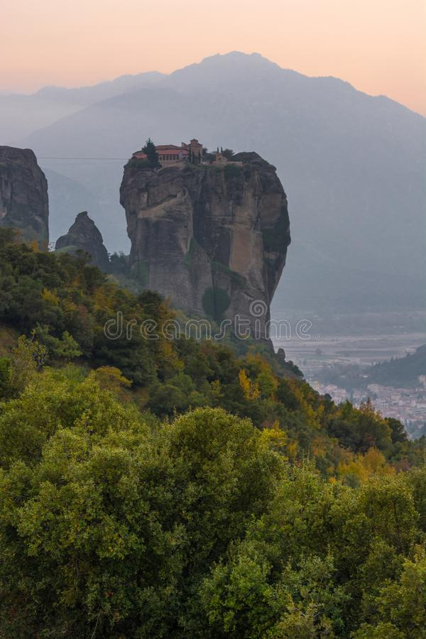 Famouse monastery of Meteora in sunset light. Famouse monastery of Meteora, Greece at sunset stock images